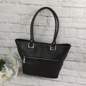 Tignanello black leather tote bag